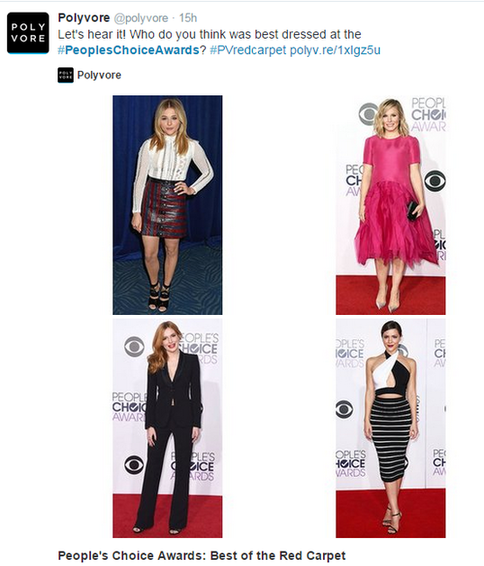 social media marketing plan polyvore tweet using the peoples choice awards hashtag