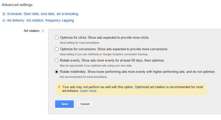 Software marketing screenshot of ad rotation settings in AdWords