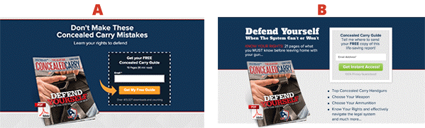 Split test Concealed Carry Association landing pages