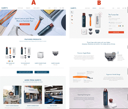 Split test Harry's Shaving landing pages