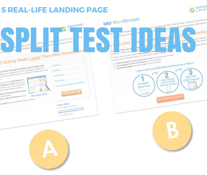 5 real life landing page split test ideas wordstreamsplit tests header