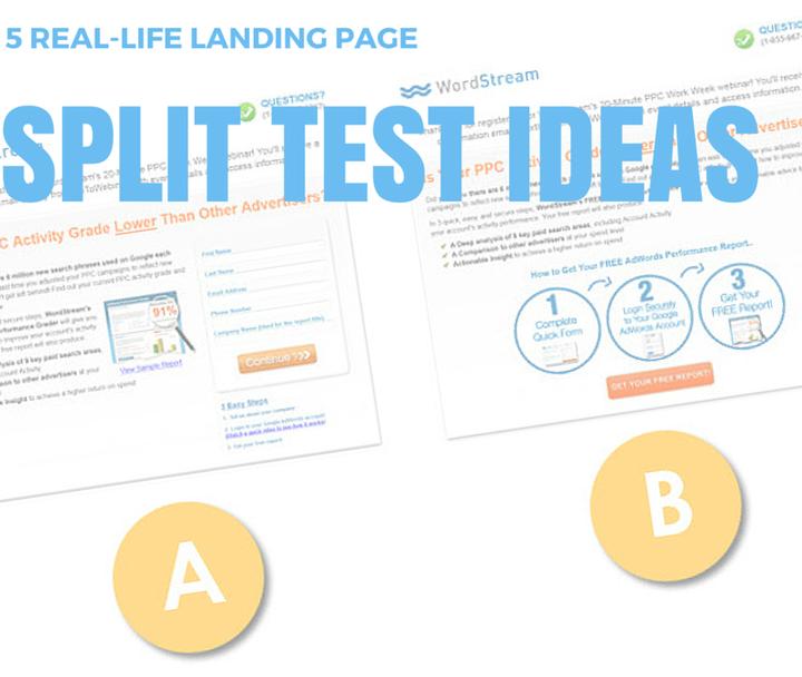 5 real life landing page split test ideas wordstreamsplit tests header