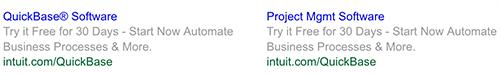 Split test Intuit ads