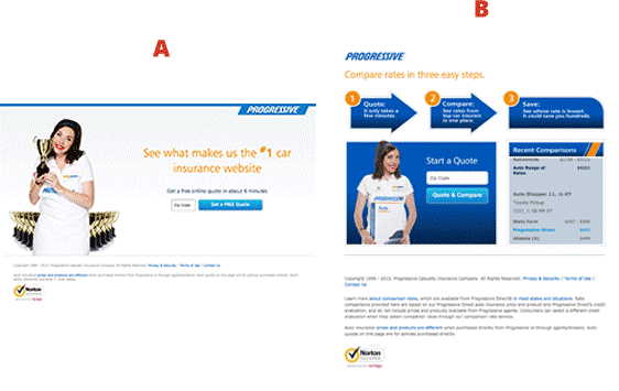 Split test Progressive Insurance landing pages