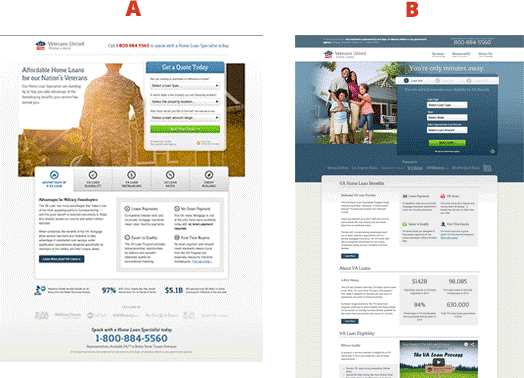 Split test Veterans United landing pages