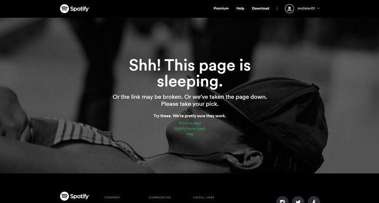 Spotify Error Page