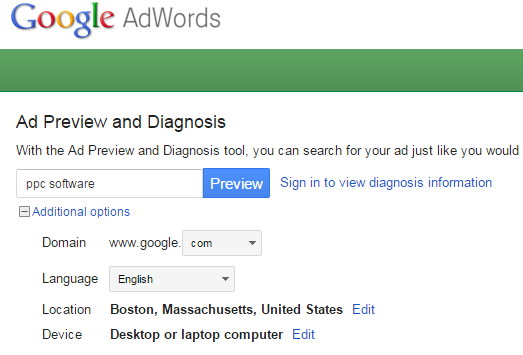 startup marketing google adwords ad preview and diagnosis tool