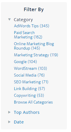 startup marketing filter by screenshot from the wordstream blog