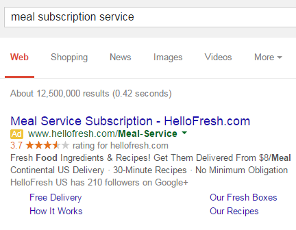 Example of a pay-per-click ad in Google
