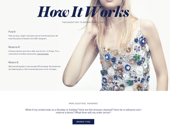 startup marketing rent the runway landing page