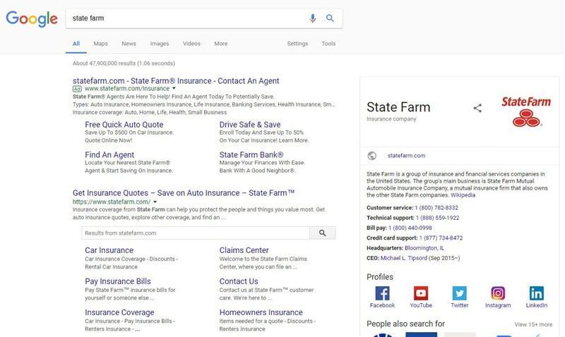 state farm brand search on desktop