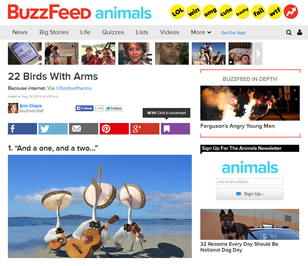 Storytelling in content marketing BuzzFeed screenshot