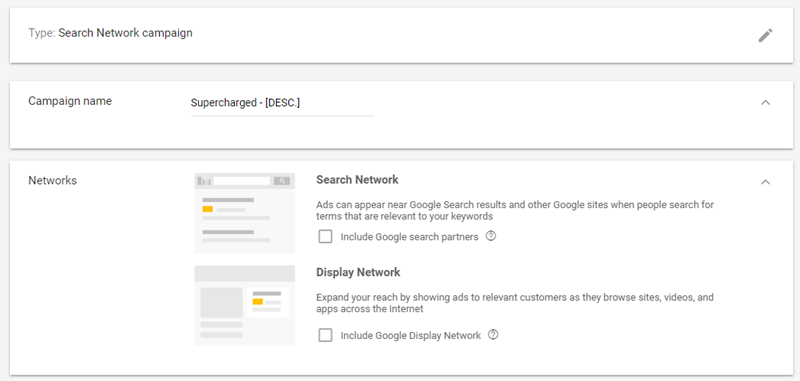 supercharged adwords campaign creation