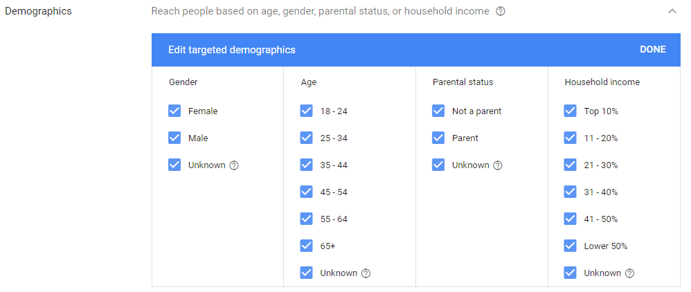 target demographics for email remarketing in adwords