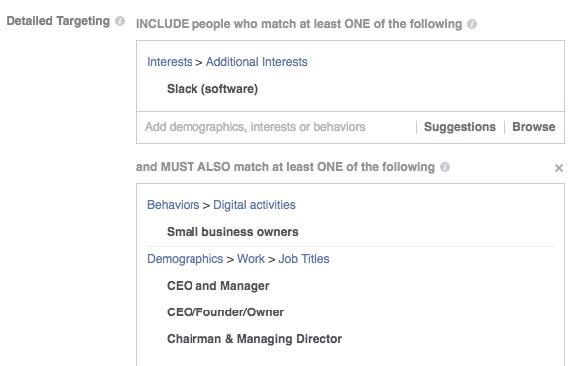 Facebook Ads for SaaS companies targeting SaaS job titles in Facebook Ads