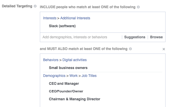 Facebook Ads for SaaS companies targeting SaaS job titles in Facebook Ads