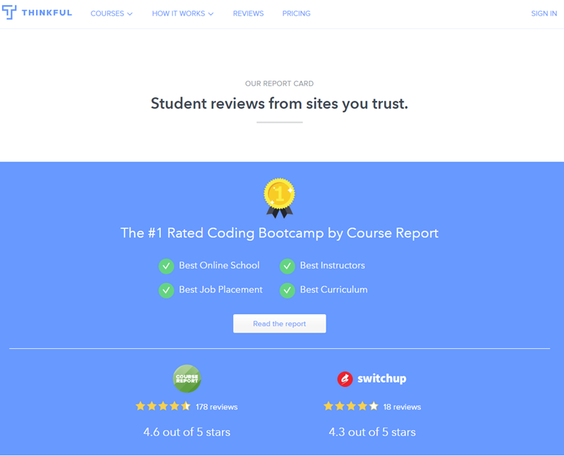 thinkful coding bootcamp landing page customer review