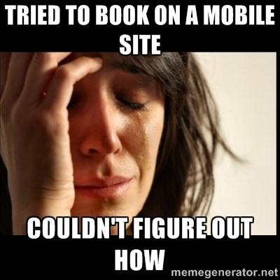 can't book on mobile site