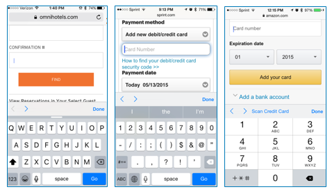 credit card input options