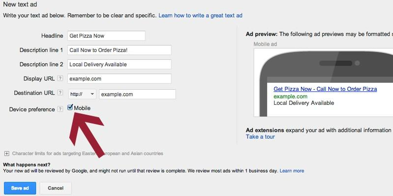 Travel marketing tips screenshot of making ad mobile preferred in AdWords