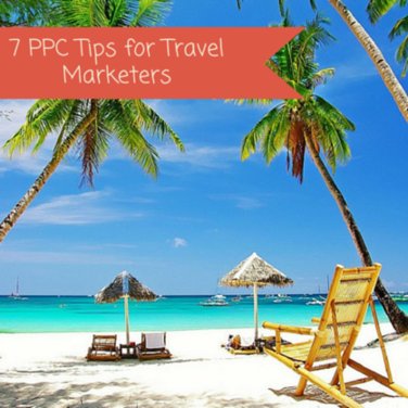 travel marketing image of palm trees and beach