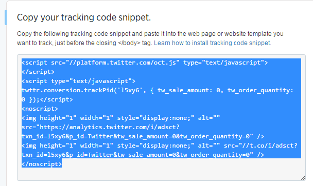 Twitter ads copy paste tracking code