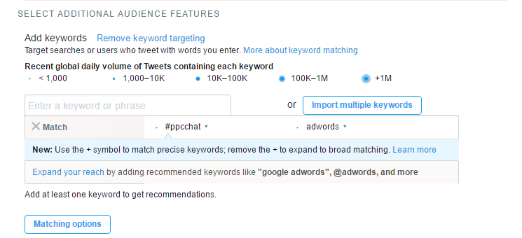twitter ads keyword targeting