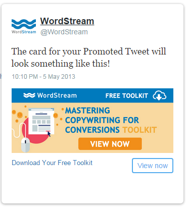 Twitter ads website card