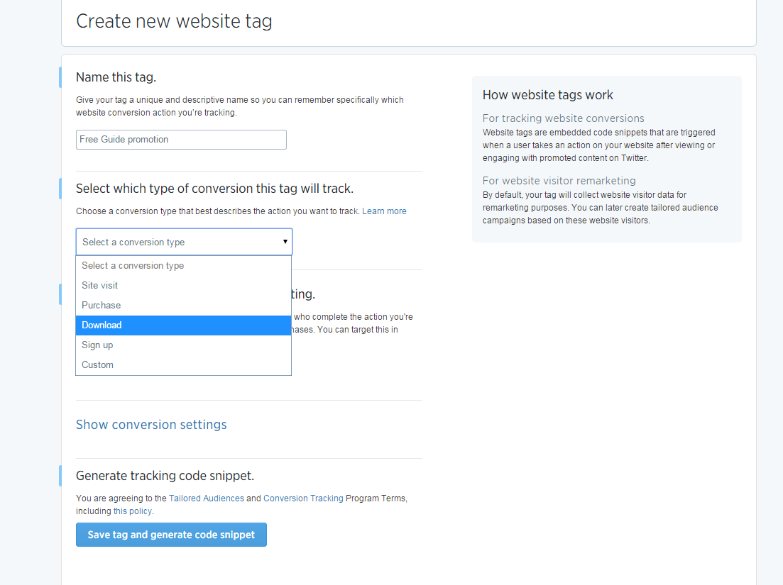 Twitter ads website tag conversions