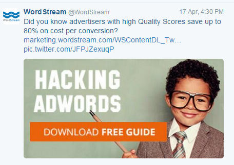 Twitter ad example WordStream