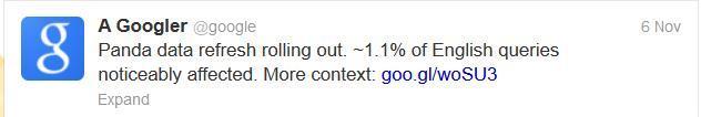 Google's official twitter account tweets algorithm updtes