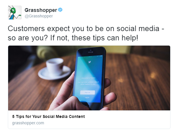 Twitter campaign ad example Grasshopper