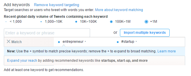 Twitter campaign add keywords