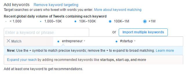 Twitter campaign add keywords
