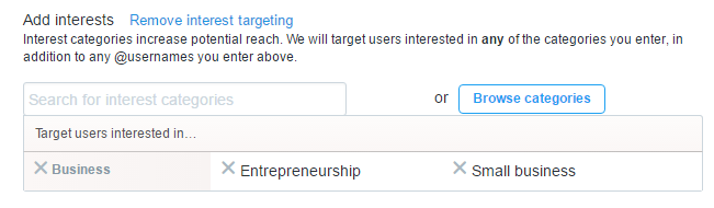 Twitter campaign interest targeting