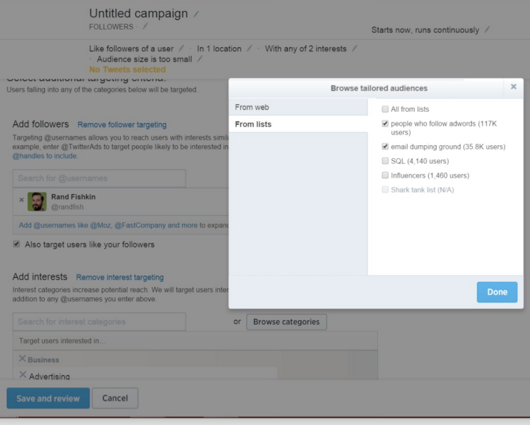 twitter campaign set up