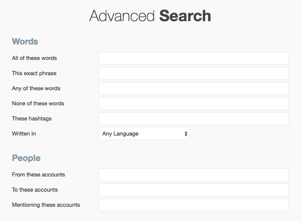 Twitter page advanced search