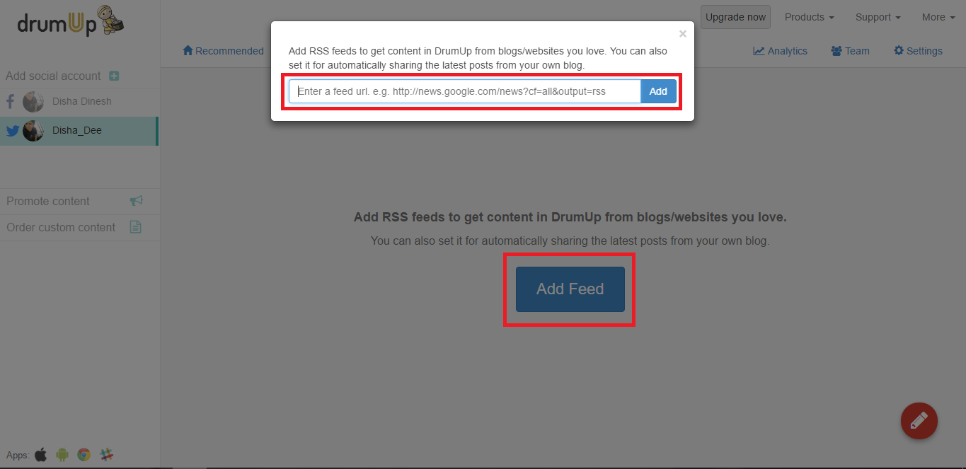 Twitter page RSS feeds export DrumUp