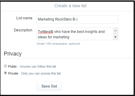 Twitter page Twitter list creation