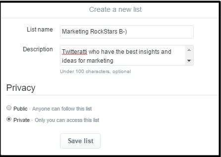 Twitter page Twitter list creation