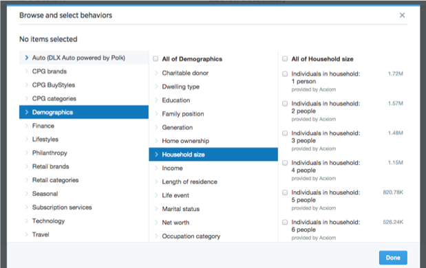 Twitter Quality Score demographic targeting options