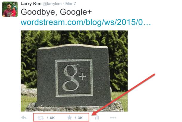 Twitter Quality Score Google+ is dead tweet Larry Kim