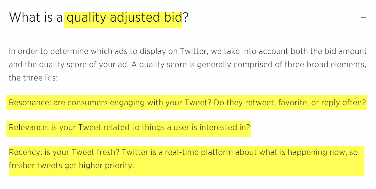 Twitter Quality Score quality adjusted bid documentation