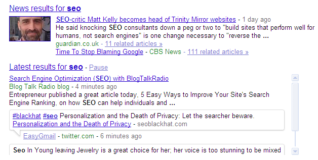 Twitter real time results for SEO