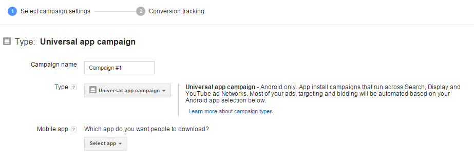 creating universal app campaigns