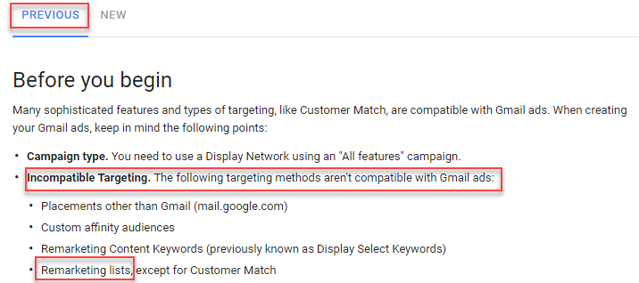 use new adwords ui for gmail remarketing