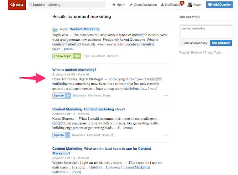 quora for marketing