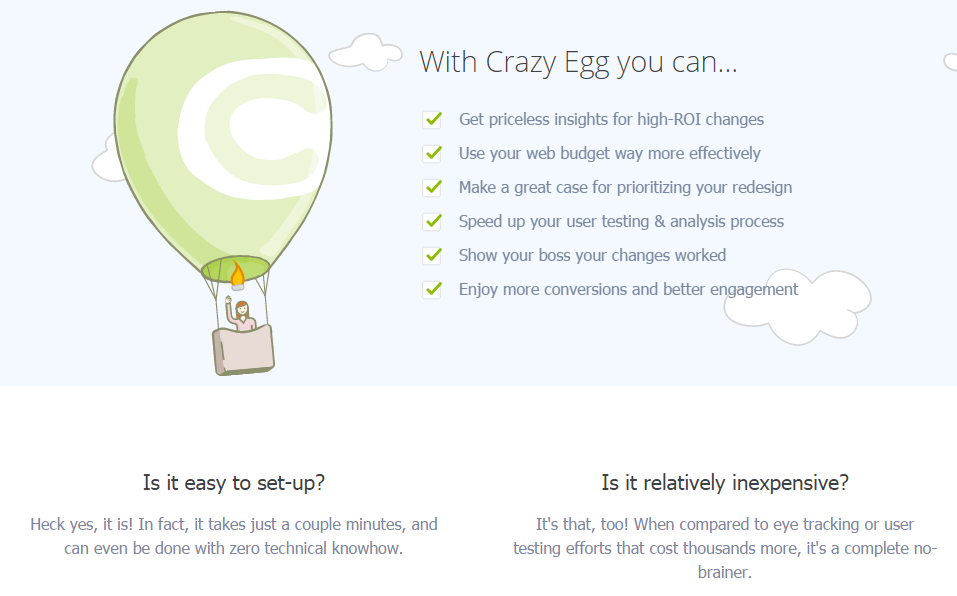 Value proposition examples CrazyEgg