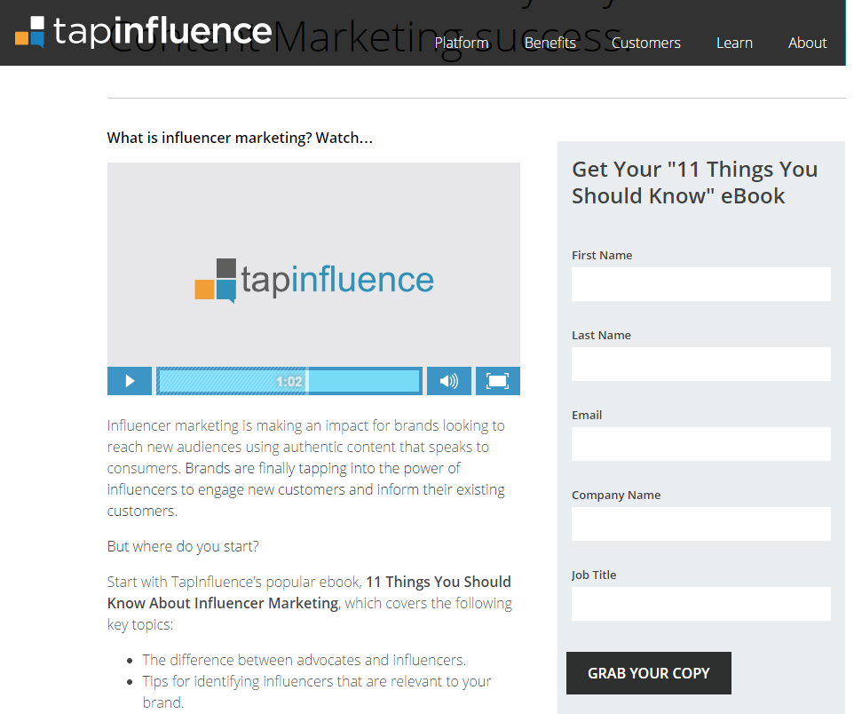 Video landing pages TapInfluence