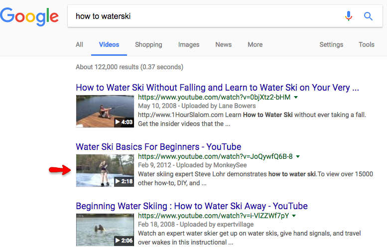 Video SEO video thumbnail example